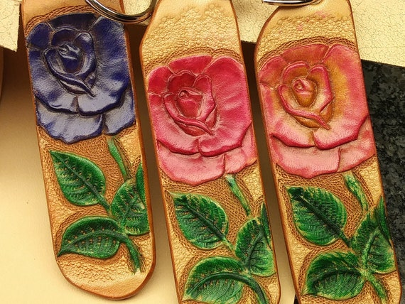 Handmade Leather Rose Keychains, Hand Tooled, Various Colors, Purple, Pink, Pink and Yellow, Handbag Accessory, Purse Decoration