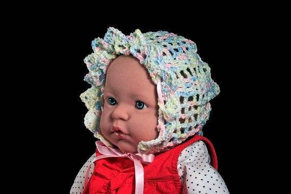 Crochet Baby Bonnet, Multicolored, Rose on Back, Newborn to Three Months, Lace Baby Hat,  Heirloom Bonnet, Infant Hat, Baby Shower Gift
