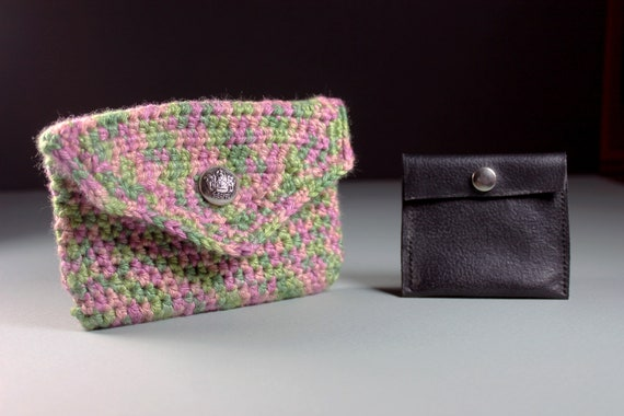 Coin Purse with Leather Insert and Interior, Pouch, Change Purse, Multicolor, Silver Tone Button, Handmade, Crochet