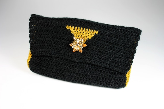 Crochet Clutch Purse, Leather Lined, Black and Gold, Rhinestone Button Adornment, Magnetic Closure, Women's Gift