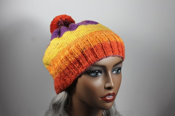 Winter Hat, Hand Knit, Pom Pom, Multicolored, Pull-On, Ski Hat