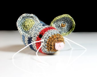 Cat Toy, Catnip Mouse, Mouse With Bell, Multicolored, Crocheted, Pet Toy, Organic Cat Nip, Pet Accessory