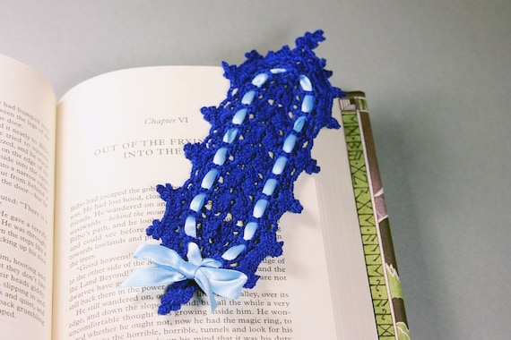 Blue Bookmark, Crochet, 7.5 Inches, Book Lovers Gift, Rectangle, Handmade, Dark Blue, Light Blue Ribbon
