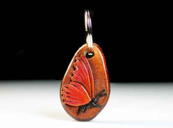 Leather Butterfly Keychain, Hand Tooled Leather, Purse Accessory, Zipper Pull, Adornment, Decoration