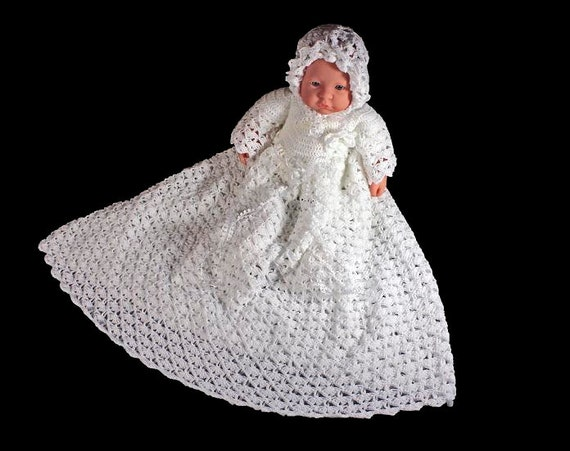 Crochet Christening Gown, Bonnet, Booties, Baptism Gown, White, Extra Long,  Family Heirloom, Handmade, Original Design, Newborn to 3 Months