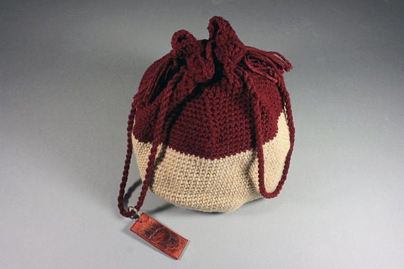 Handbag, Drawstring Bag, Hand Tooled Leather Key Ring, Boho Bag, Hippie Bag, Cranberry and Sandstone, Handmade, Crochet,