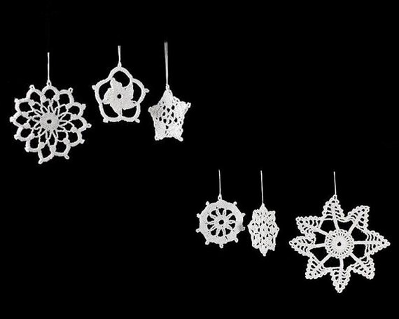 Snowflake Ornaments, Crochet, Decorations, Set of 6