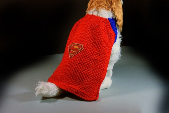 Superman Pet Costume, Fits 10-15 lb. Pet, Pet Sweater, Superhero, Crochet, Hand Tooled Leather, Photo Prop, Halloween Costume