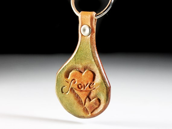 Leather Keychain, Hand Tooled Leather, Love and Heart Keychain, Purse Accessory, Zipper Pull, Adornment, Decoration