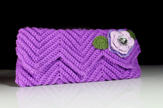 Clutch, Purse, Ivory Velvet Lined, Crochet, Lavender, Floral Adornment, Magnetic Closure