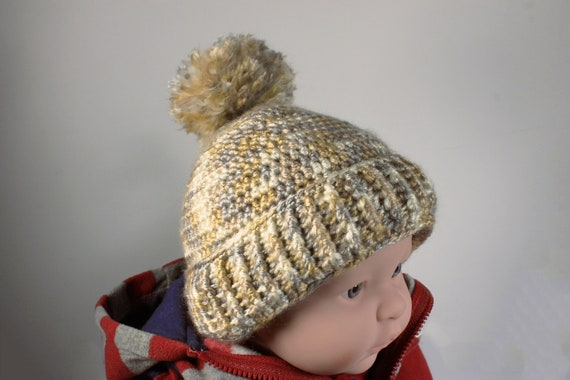 Winter Baby Hat, Crochet, Unisex Baby Hat, Handmade, Infant Winter Hat, 0-3 months, Baby Shower Gift, Pull On Hat, Gold Multicolor