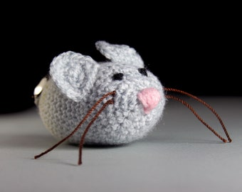 Cat Toy, Catnip Mouse, Mouse With Bell, Crocheted, Pet Toy, Organic Cat Nip, Pet Accessory