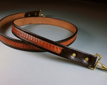 Handbag Strap, Hand Tooled Leather, Scallop Design, Two Tone, Black and Brown, Replacement Strap,