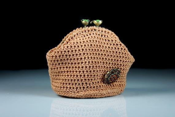 Crochet Coin Purse, Kiss Closure, Metal Goldtone Frame, Copper, Rhinestone Embellishment, Coin Pouch, Handmade