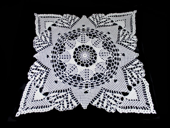 Crochet Doily, Square, 18-inch, Ecru (Natural), Crochet Mat, Crochet Lace, Table Decor