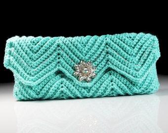 Crochet Clutch Purse, Ivory Velvet Lined, Aqua, Rhinestone Button Adornment,  Beaded, Magnetic Closure, Women's Gift