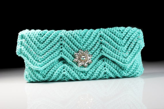 Crochet Clutch Purse, Ivory Velvet Lined, Aqua, Rhinestone Button Adornment,  Beaded, Magnetic Closure, Women's Gift