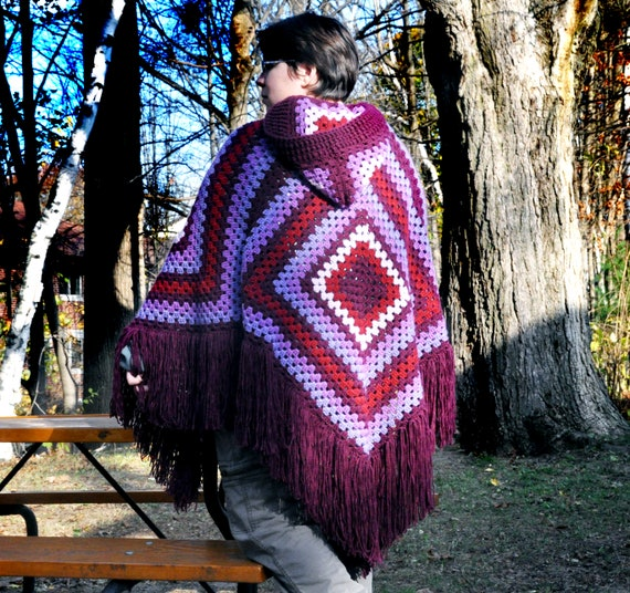 Women's Poncho, Retro-Style, Hooded Poncho, Hippie, Boho Chic, Fringed Poncho, Large Poncho, Crochet Poncho, Women's Outerwear