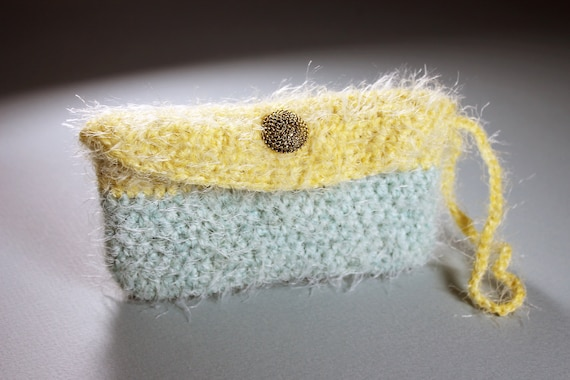 Coin Purse, Wristlet, Pouch, Change Purse, Yellow and Green, Gold Tone Button, Handmade, Crochet
