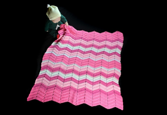 Crochet Ripple Baby Blanket, Pink, Baby Throw, Stroller Blanket, Crib Blanket, Baby Shower Gift