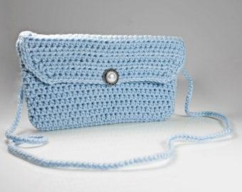 Handbag, Shoulder Bag, Purse, Crocheted Purse, Handmade Purse, Evening Bag, Blue Handbag