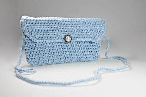 Handbag, Shoulder Bag, Purse, Crocheted Purse, Handmade Purse, Evening Bag, Blue Handbag