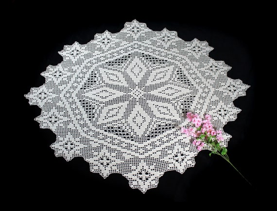 Crochet Doily, 39-inch, Ecru (Natural), Oval, Crochet Mat, Crochet Lace, Table Decor, Tablecloth