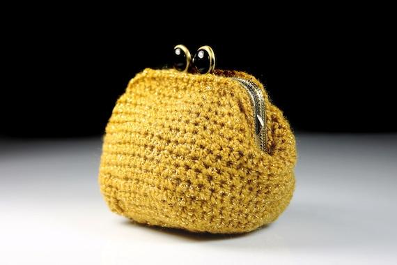 Crochet Coin Purse, Gold, Kiss Closure, Metal Goldtone Frame, Coin Pouch, Handmade