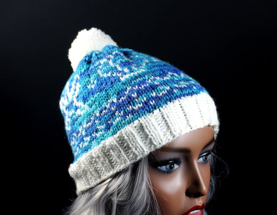 Women's Winter Hat, Hand Knit, Fair Isle Pattern of Shells and Starfish, Pom Pom, Multicolored, Pull-On, Ski Hat