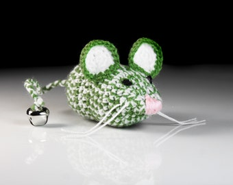 Cat Toy, Catnip Mouse, Mouse With Bell, Green and White, Crocheted, Pet Toy, Organic Catnip, Pet Accessory