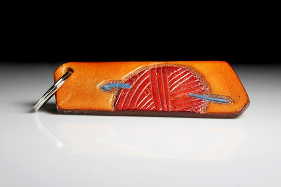 Leather Keychain, Hand Tooled Leather, Crochet Hook and Yarn, Purse Accessory, Zipper Pull, Adornment, Decoration