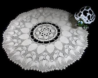 Crochet Doily, 22-inch, Ecru (Natural), Round, Crochet Mat, Crochet Lace, Table Decor