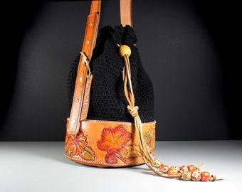 Bucket Bag, Tote Bag, Luxury Bag, Drawstring Bag, HandTooled Leather, Leather Bag, Crochet Bag, Original Design