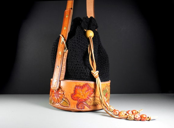 Bucket Bag, Tote Bag, Luxury Bag, Drawstring Bag, HandTooled Leather, Leather Bag, Crochet Bag, Original Design