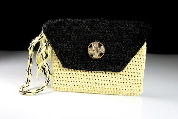 Wristlet, Purse, Crochet, Leather Interior, Coin Purse, Handmade, Yellow and Black