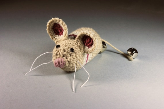 Catnip Toy Mouse, Mouse With Bell, Beige with Stripes, Crocheted, Pet Toy, Organic Cat Nip, Pet Accessory