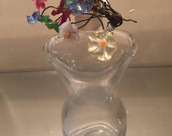 Vintage Perfume Bottle SHOCKING De SCHIAPARELLI Famous Torso Bottle  Matching Bouquet Of Glass Flowers Outstanding Bottle