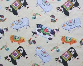 Fabric Jim Shore Village Farm Animals Folk Art Springs Creative Fabric By The Yard Have 3