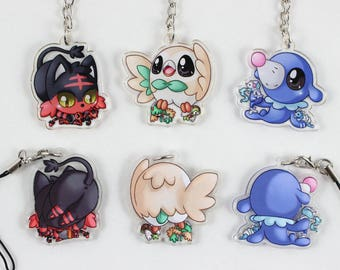 "Pokemon Alola Starters 1.5"" Double-Sided Acrylic Charm Keychains"