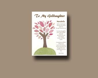 Goddaughter gift - Gift for Goddaughter - Personalized gift for Goddaughter - Gift from Godmother, Gift From Godparents,  Keepsake  - TREE
