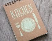 "4x6"" GREEN Recipe book, spiral notebook, kitchen book recipe organizer, kraft paper notebook, pocket notebook blank book, accessories favor"