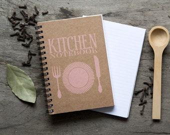 """4x6"""" PEACH Recipe book, kitchen book foodie recipe organizer, kraft paper notebook, pocket spiral notebook, blank book kitchen favor"""