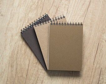 """Set of 3 blank notebooks, 4x6"""" pocket paper notebook, wedding favor, to do list notepad, blank pages, spiral bound, for her, teacher, foodie"""