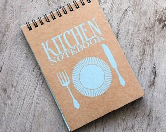 """4x6"""" BLUE Recipe book, spiral notebook, kitchen book recipe organizer, kraft paper notebook, pocket blank book kitchen accessories favor"""