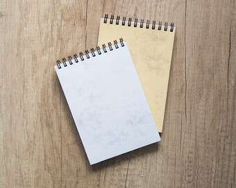 """Set of 2 blank notebooks, 4x6"""" marble paper notebook, wedding favor, to do list notepad, blank pages, spiral bound, for her, teacher, foodie"""
