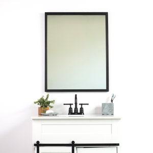 24x30 Black Ash Bathroom Vanity Wall Mirror Thin Wall Etsy