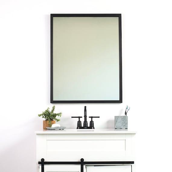 Black Bathroom Wall Mirror Thin Wall Mirror Modern Rustic Etsy