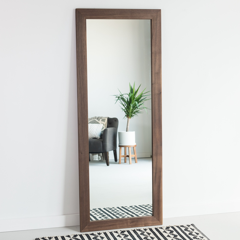 Walnut Wood Full Length Mirror Floor Mirror Wardrobe Mirror Leaning Mirror Vanity Mirror Modern Rustic Farmhouse Bathroom Vanity