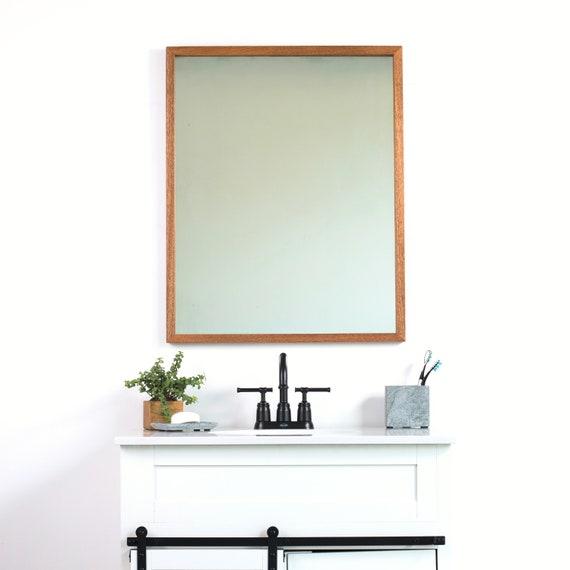 28x34 African Mahogany Bathroom Vanity Wall Mirror Thin Wall Etsy