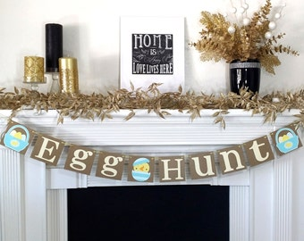 Happy Easter Decoration / Happy Easter Banner / Easter Egg Hunt / Rustic / Easter Garland / Easter Chick / Easter Basket / Easter Photo Prop
